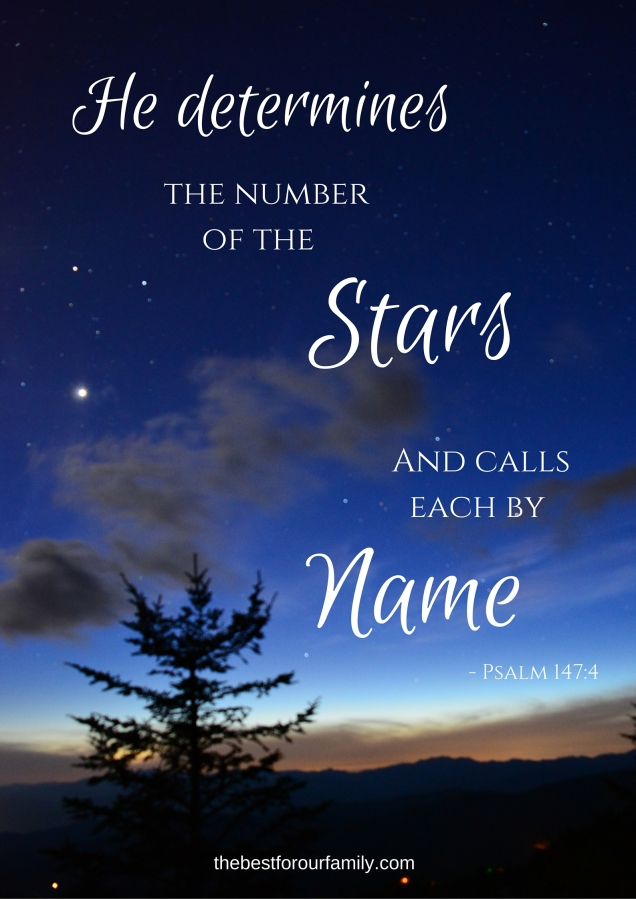 Lift up your eyes on high And see who has created these stars, The One who leads forth their host by number, He calls them all by name; Because of the greatness of His might and the strength of His power, Not one of them is missing..jpg