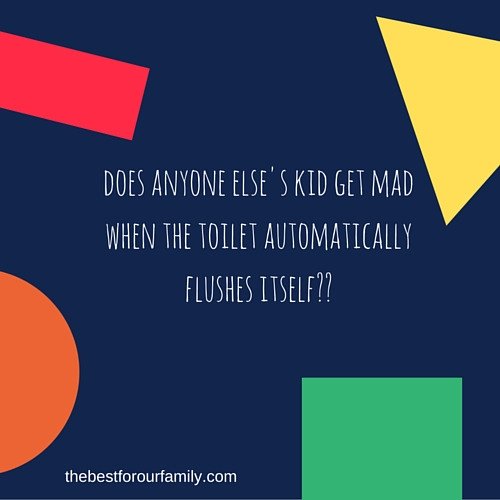 does anyone else's kid get mad when the toilet flushes itself--
